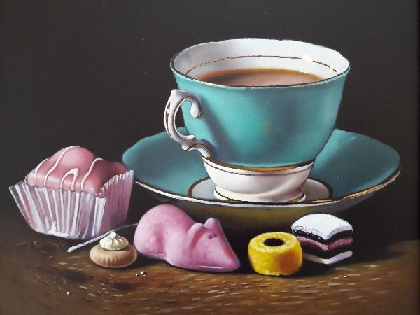 turquoise teacup with cake and sweets (sold)