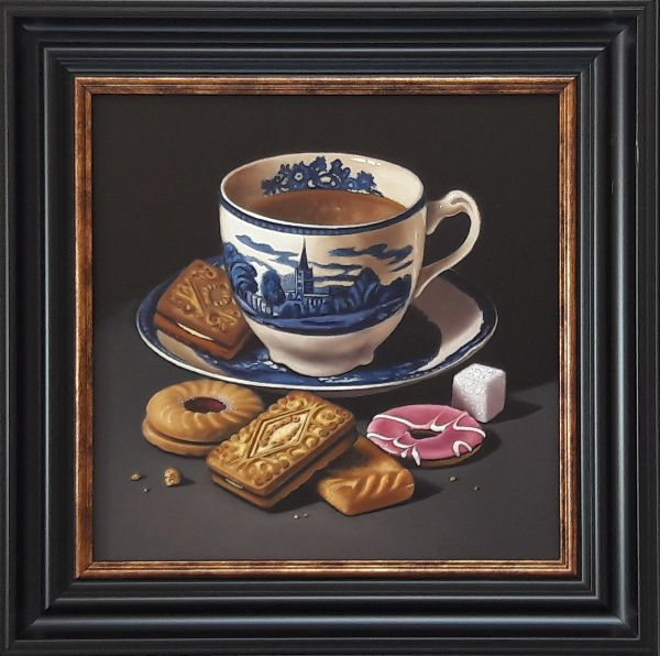 blue and white teacup with biscuits (sold)