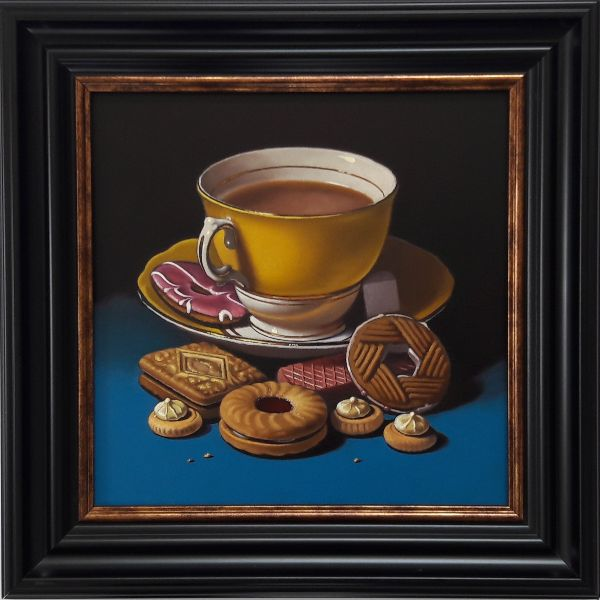 yellow teacup and biscuits with iced gems (sold)
