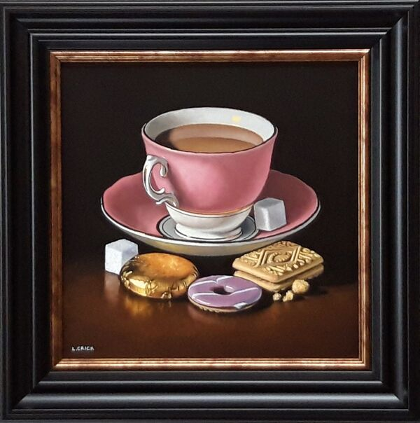 pink teacup with biscuits (sold)