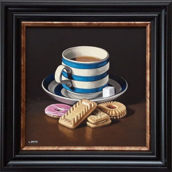 striped teacup with biscuits (sold)