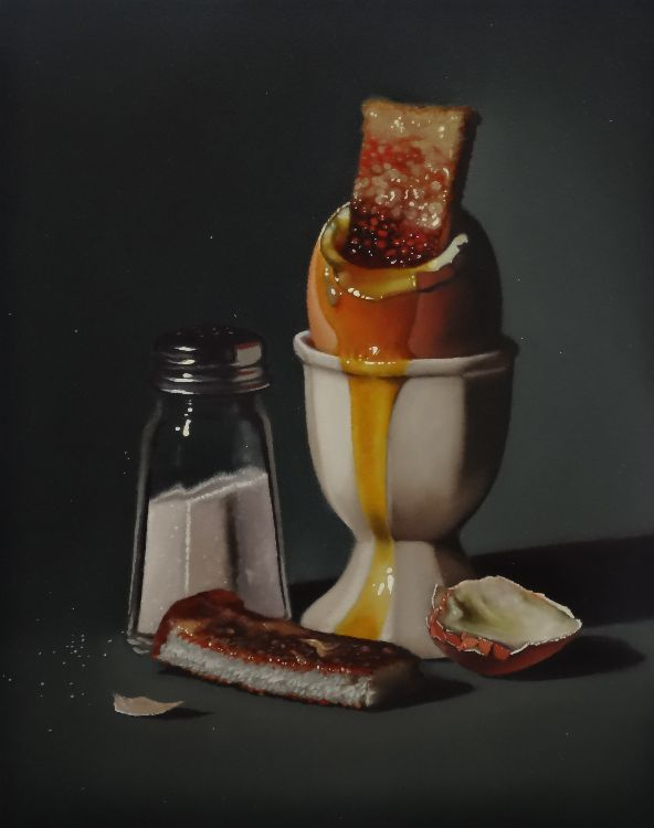 boiled egg with soldiers and salt (sold)