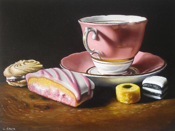 pink teacup with cake and sweets (sold)