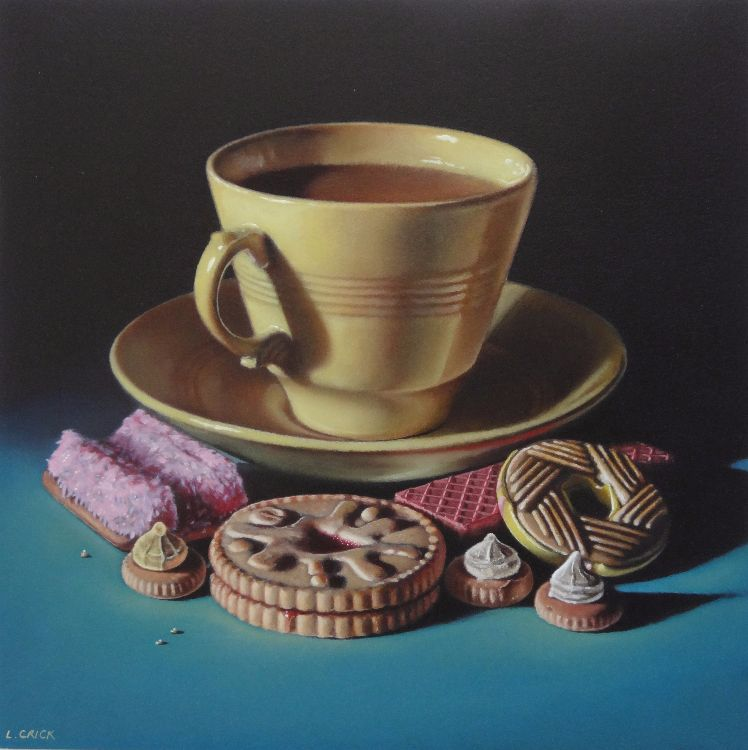 jasmine yellow tea cup and biscuits (sold)