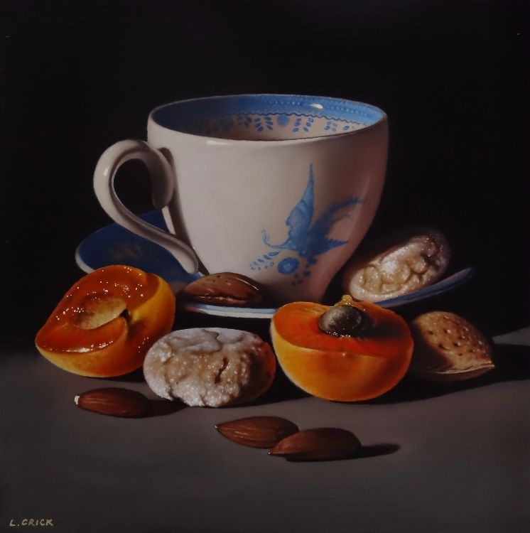 teacup with apricots and almonds (sold)