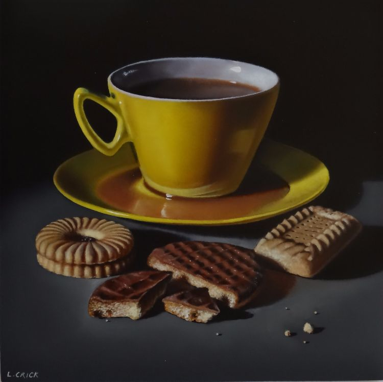 yellow teacup with biscuits (sold)