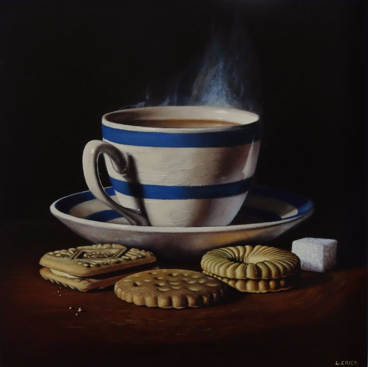 blue striped teacup with biscuits (sold)