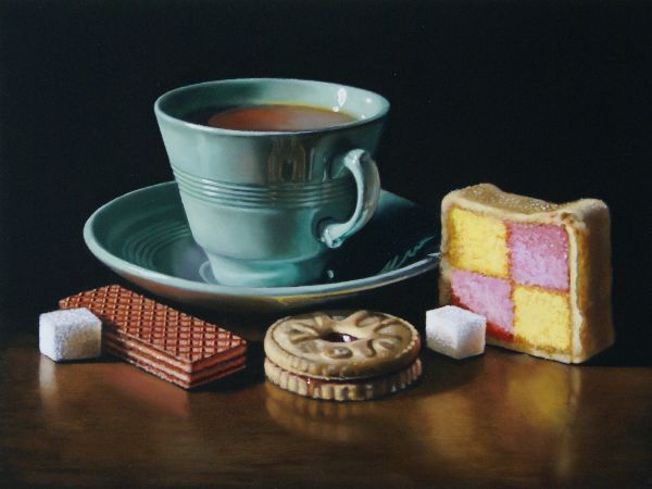 teacup with biscuits and battenburg (sold)