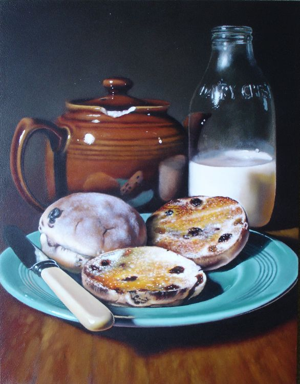 toasted teacakes with milk bottle (sold)