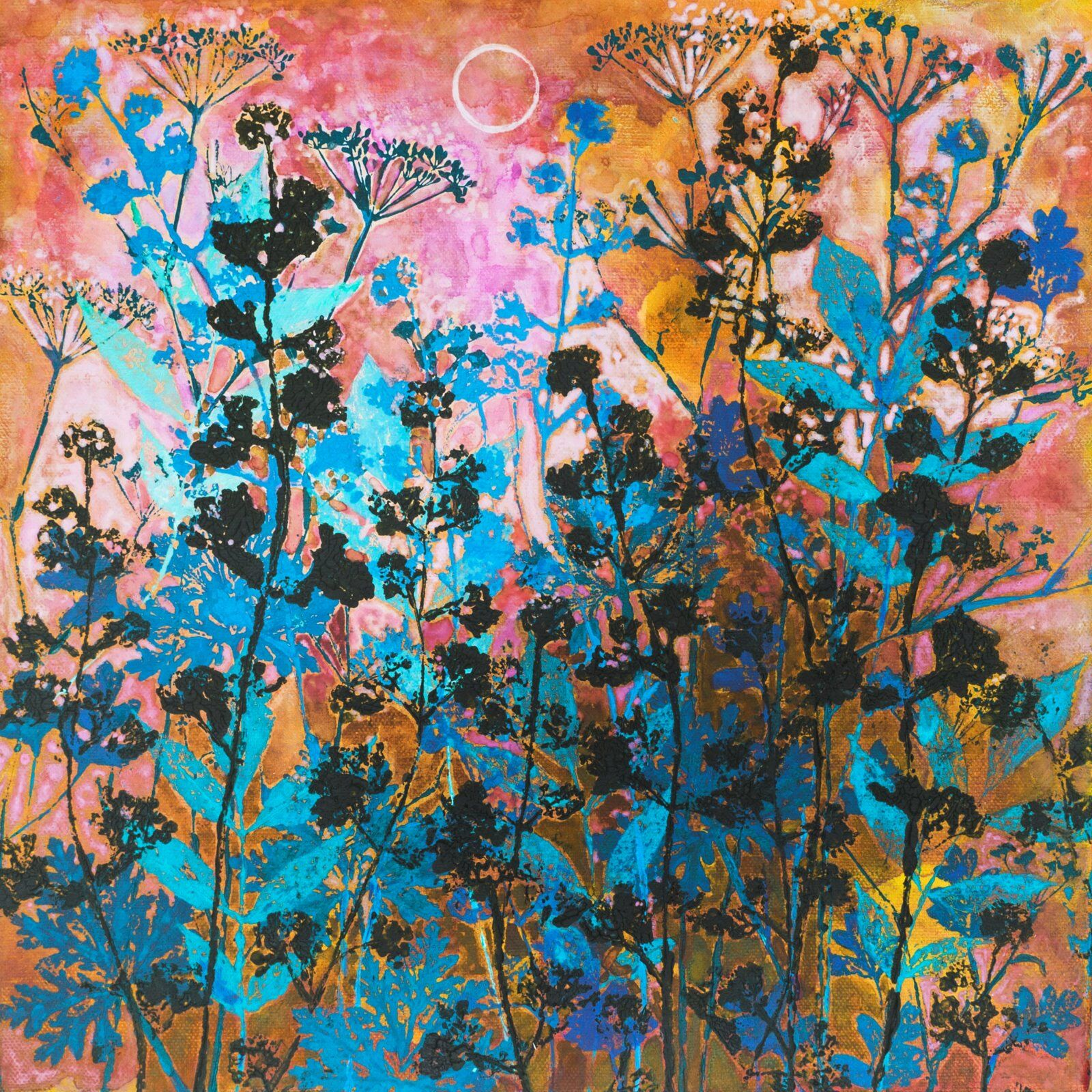 Blue Catnip and Pink Moon Giclee