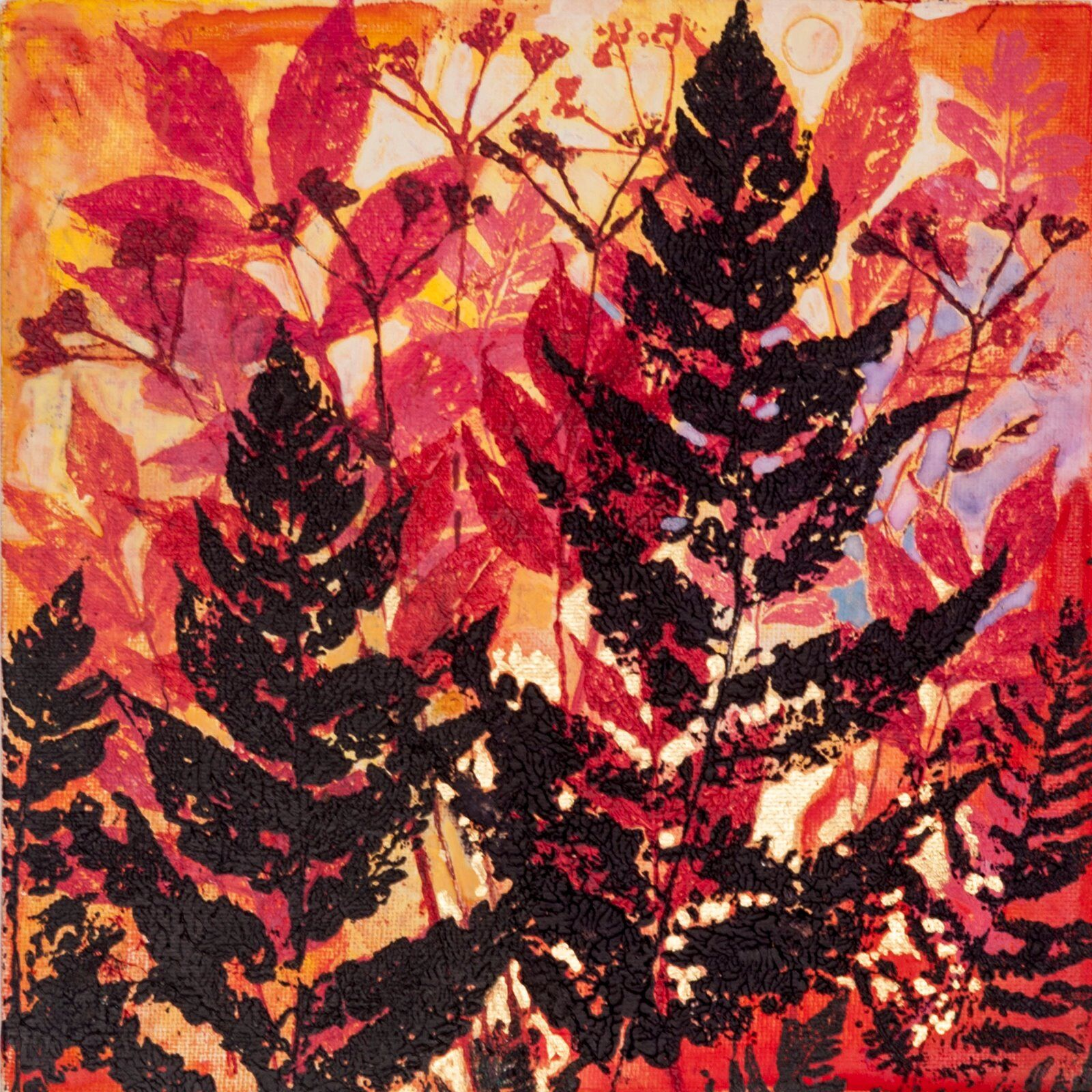 Fern and Red Elder Giclee, 20x20cm only.