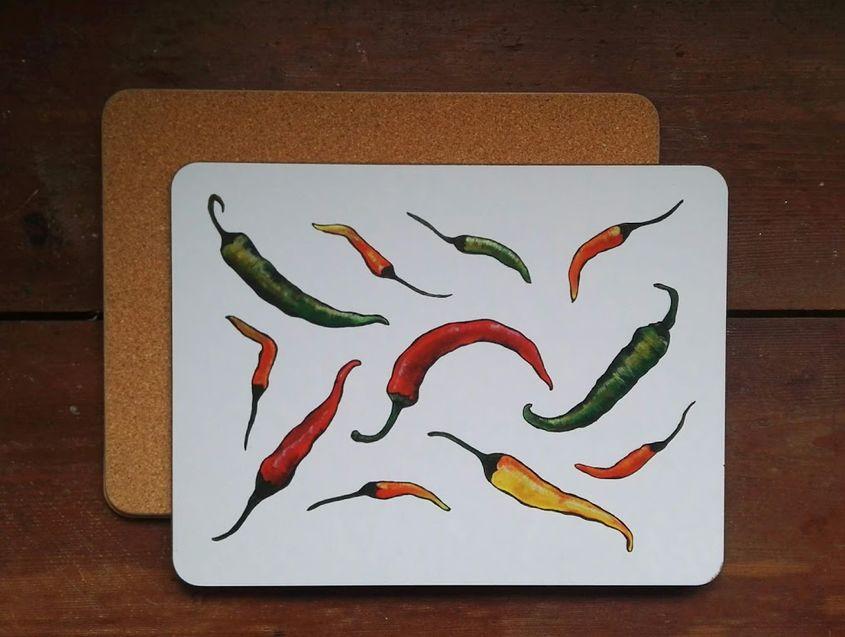 Chillies large placemat/serving mat