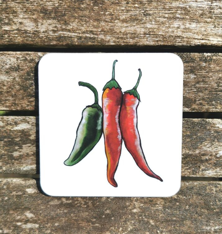 Hanging Chillies Coaster