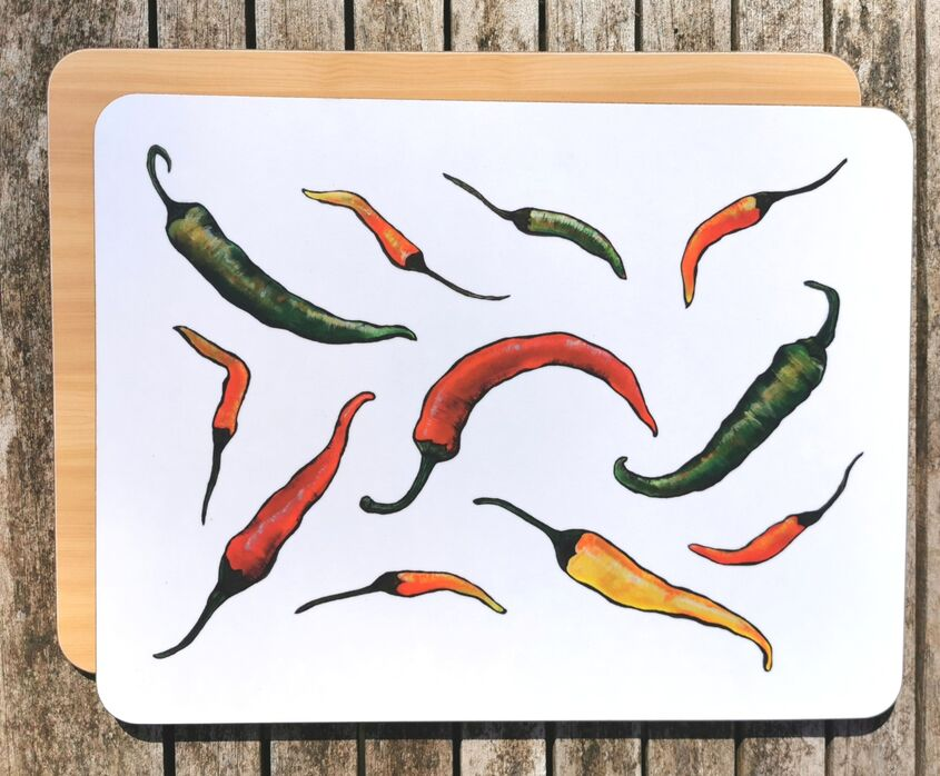 Chillies chopping board