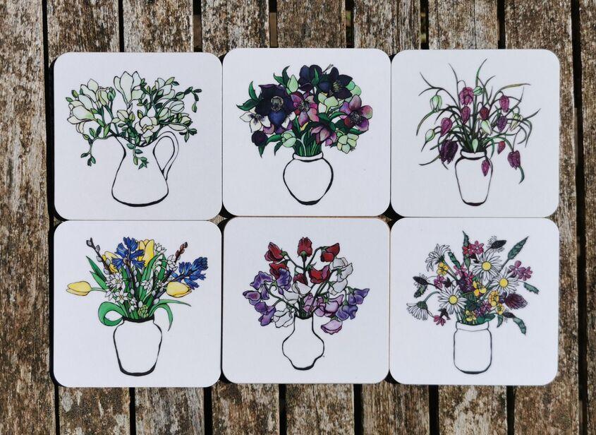 Floral coaster set 1