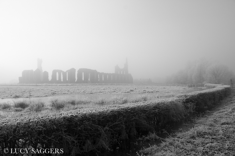 Mist lifting over Byland Abbey, December 2012
