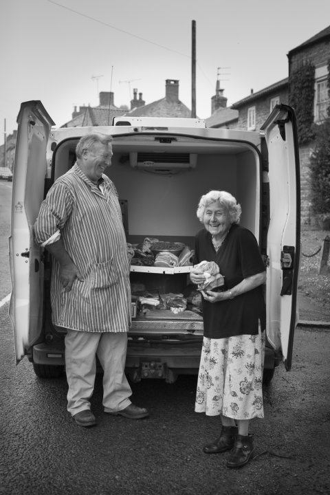 Betty Fox buying her meat from Richard Kirk (II), Ampleforth, July 2015