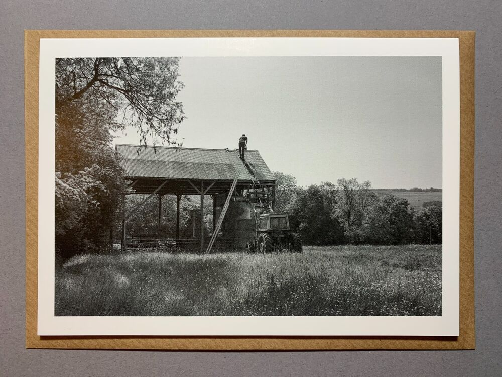 Ben Skelton painting barn roof, Ampleforth