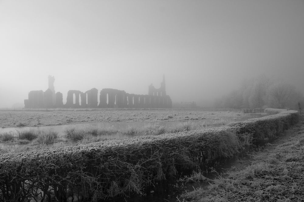 Mist lifting over Byland Abbey