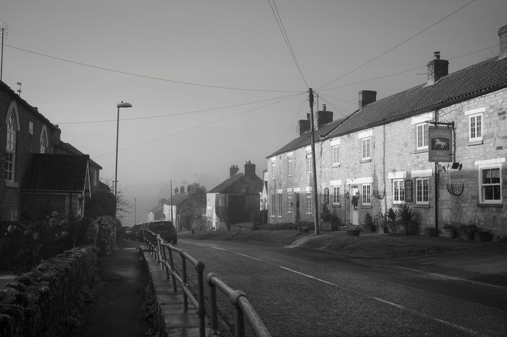 Misty morning on Main Street, Ampleforth