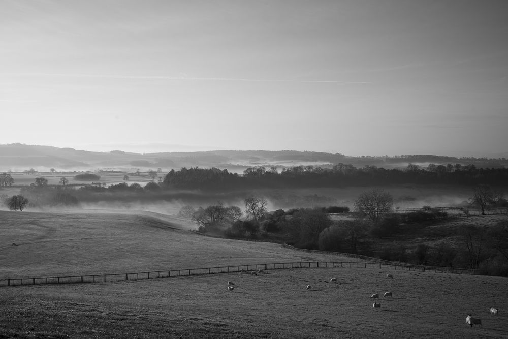 Winter morning from Knoll Hill towards Yearsley, December 2018