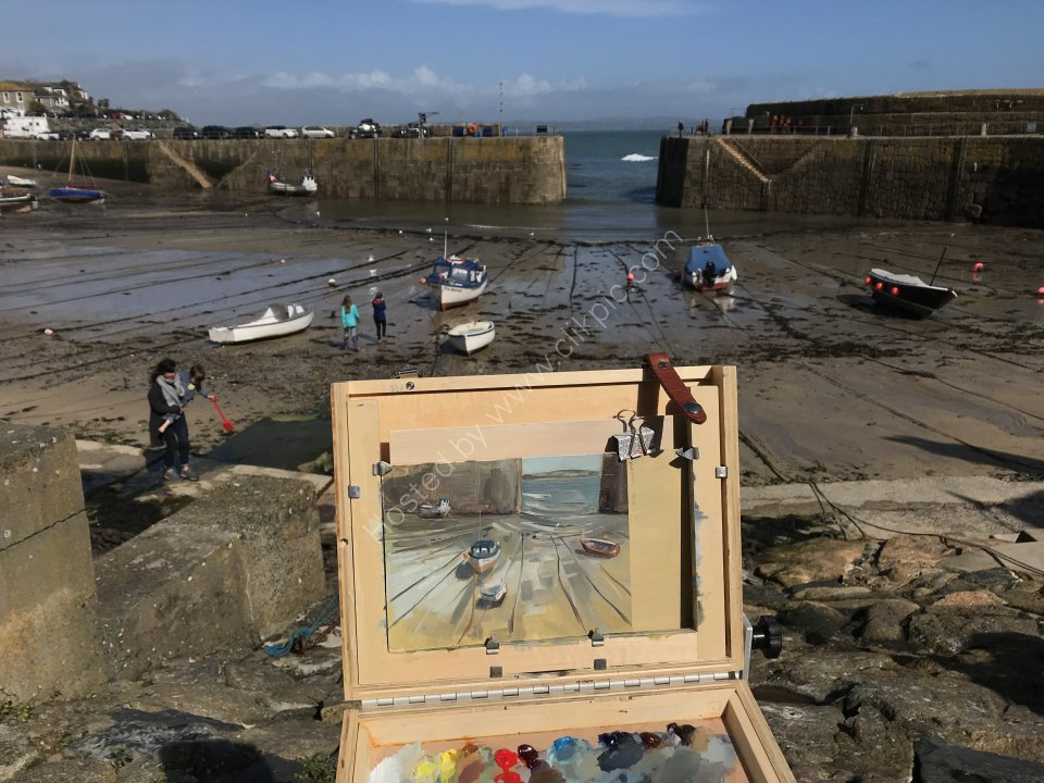 On location en plein air in Mousehole, Cornwall Easter 2018. Painting for sale above.