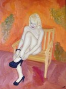 Seated Nude, ooc, 16x12in. Unframed.
