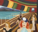 Women on the Boat, ooc, 60x70cm. Exhibited in the US in 2007. Unframed.