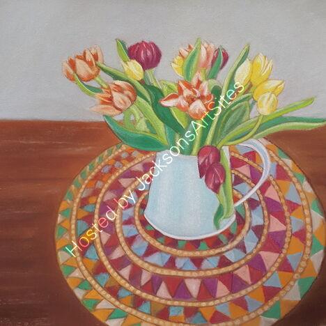 """""""Tulips in Blue Jug"""" (Unframed) 10 x 10in £70"""