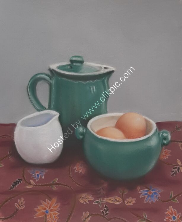 Still Life with Coffee Pot and Eggs 11x 9 in Unframed £75.00
