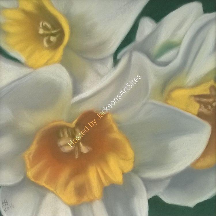 Daffodils 9 x 9 in (in a 12 x 12 in ornate gilt frame)  £120