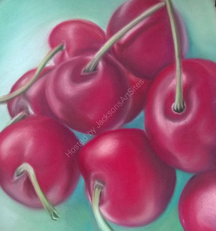 Cherries 8 x 8 in (in a 10 x 10 in black frame)  £75