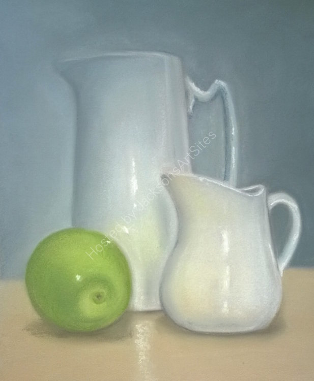 White Jugs with Green Apple 10 x 8 in