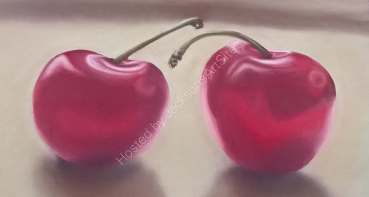 Two Cherries 18 x 11 in (in a 22 x 15 in light oak frame)  £150