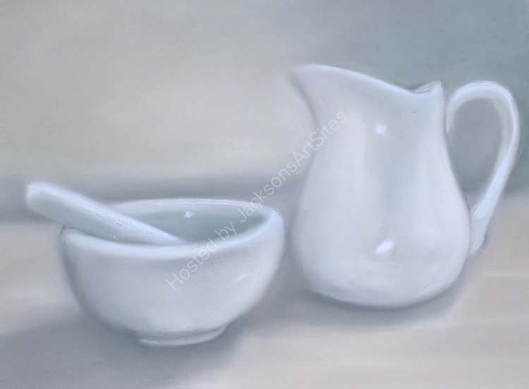 White Jug and Pestle and Mortar 10 x 8 in (in a 14 x 11 in mount) £65