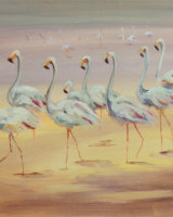 "Flamingos (Oil on canvas, size 16"" x 12"" unframed)"