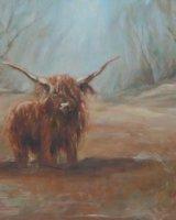 "Highland Cow (Oil on Canvas, size 16"" x 12"" unframed)"
