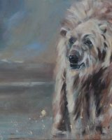 """Polar Bear (Oil on canvas, size 20"""" x 16"""" unframed)"""