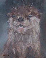 """Otter (Oil on canvas, size 12"""" x 10"""" unframed) SOLD"""