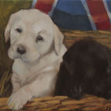 Jubilee Puppies (Oil on canvas) SOLD