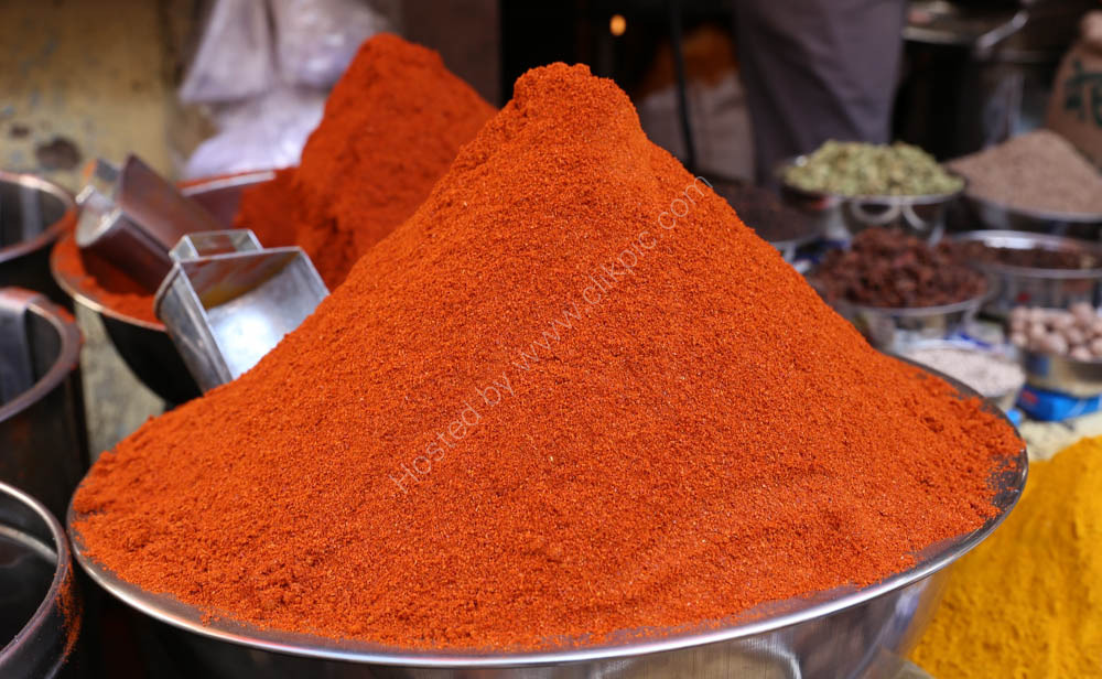 Chilli powder in the market place