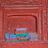 Books in alcoves Jama Masjid Mosque in New Delhi