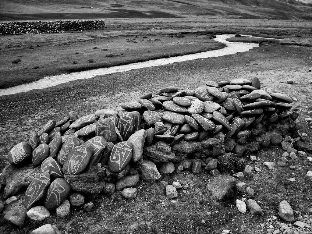 Memorial carved stones Tibet