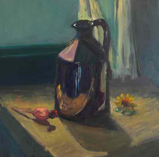 <p>black jug and seed head</p>