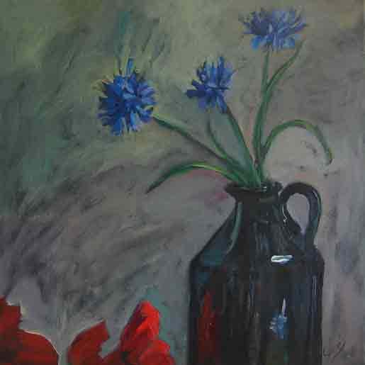 cornflowers, poppies and jug