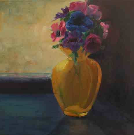 anemones and yellow glass