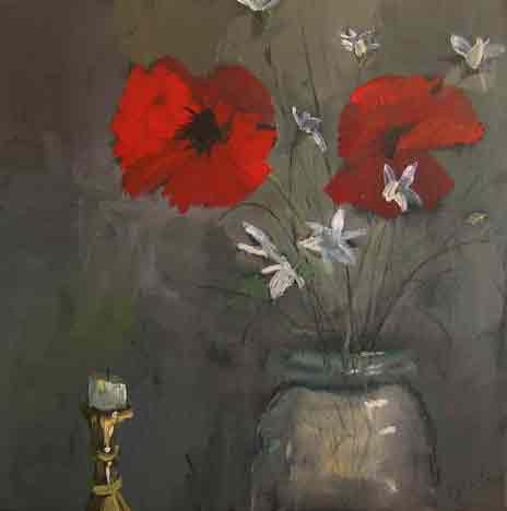candlestickand poppies