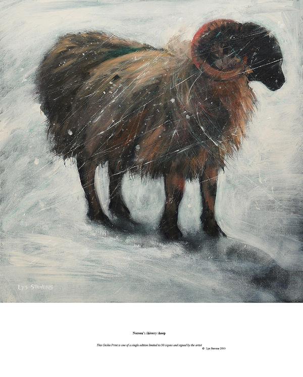 Noreen's shivery sheep PRINT 27x27cms