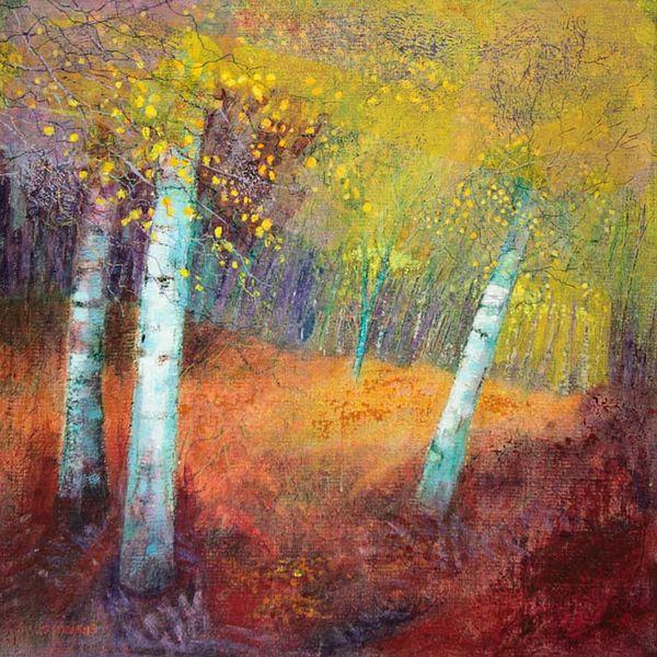 autumn gold birches PRINT 27x27cms