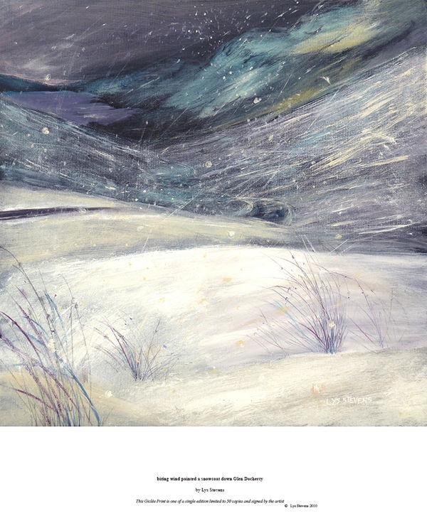biting wind painted a snowcoat down Glen Docherty PRINT 27x27cms